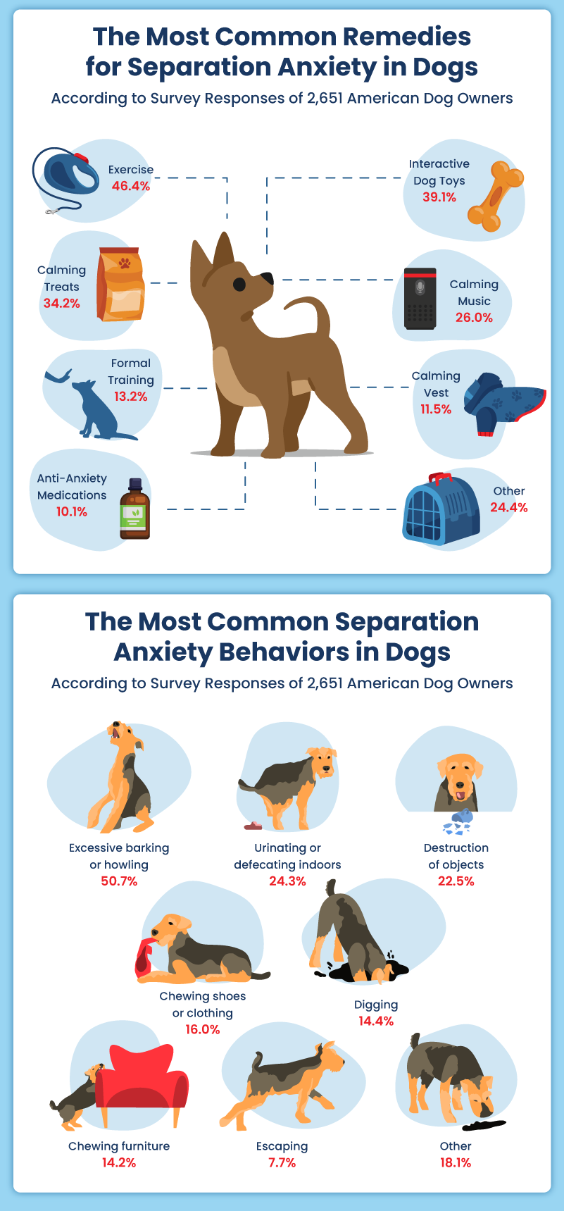 Infographic showing the most common behaviors in anxious dogs and remedies for anxious dogs